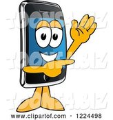 Vector Illustration of a Cartoon Smart Phone Mascot Waving and Pointing by Toons4Biz
