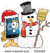 Vector Illustration of a Cartoon Smart Phone Mascot with a Christmas Snowman by Toons4Biz