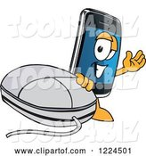 Vector Illustration of a Cartoon Smart Phone Mascot with a Computer Mouse by Toons4Biz