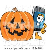 Vector Illustration of a Cartoon Smart Phone Mascot with a Halloween Pumpkin by Toons4Biz