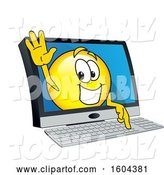 Vector Illustration of a Cartoon Smiley Mascot Emerging from a Computer Screen by Toons4Biz