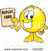 Vector Illustration of a Cartoon Smiley Mascot Holding a Report Card by Toons4Biz
