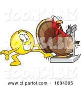 Vector Illustration of a Cartoon Smiley Mascot Tricking a Turkey Bird Weighing Itself by Toons4Biz