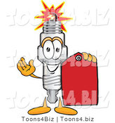Vector Illustration of a Cartoon Spark Plug Mascot Holding a Red Clearance Sales Price Tag by Toons4Biz