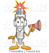 Vector Illustration of a Cartoon Spark Plug Mascot Holding a Red Megaphone Bullhorn by Toons4Biz