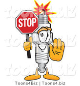 Vector Illustration of a Cartoon Spark Plug Mascot Holding a Stop Sign by Toons4Biz