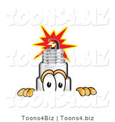 Vector Illustration of a Cartoon Spark Plug Mascot Peeking over a Surface by Toons4Biz