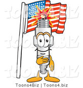Vector Illustration of a Cartoon Spark Plug Mascot Pledging Allegiance to the American Flag by Toons4Biz