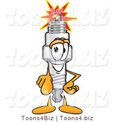Vector Illustration of a Cartoon Spark Plug Mascot Pointing Outwards at the Viewer by Toons4Biz