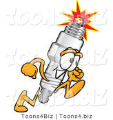 Vector Illustration of a Cartoon Spark Plug Mascot Running by Toons4Biz