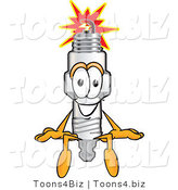 Vector Illustration of a Cartoon Spark Plug Mascot Seated by Toons4Biz
