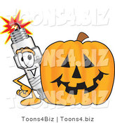 Vector Illustration of a Cartoon Spark Plug Mascot Standing by a Halloween Pumpkin by Toons4Biz
