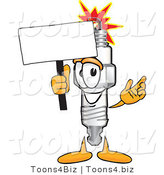 Vector Illustration of a Cartoon Spark Plug Mascot Waving a Blank White Sign by Toons4Biz