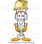 Vector Illustration of a Cartoon Spark Plug Mascot Wearing a Yellow Hardhat Helmet by Toons4Biz