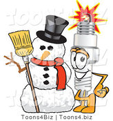 Vector Illustration of a Cartoon Spark Plug Mascot with a Snowman on Christmas by Toons4Biz