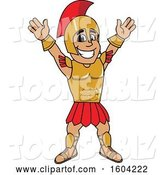Vector Illustration of a Cartoon Spartan Warrior Mascot Cheering or Welcoming by Toons4Biz