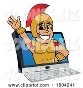 Vector Illustration of a Cartoon Spartan Warrior Mascot Emerging from a Computer Screen by Toons4Biz