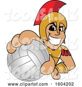 Vector Illustration of a Cartoon Spartan Warrior Mascot Grabbing a Volleyball by Toons4Biz