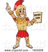 Vector Illustration of a Cartoon Spartan Warrior Mascot Holding a Report Card by Toons4Biz