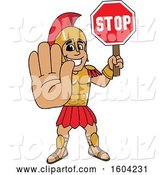 Vector Illustration of a Cartoon Spartan Warrior Mascot Holding a Stop Sign by Toons4Biz