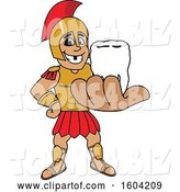 Vector Illustration of a Cartoon Spartan Warrior Mascot Holding a Tooth by Toons4Biz