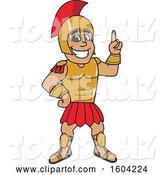 Vector Illustration of a Cartoon Spartan Warrior Mascot Holding up a Finger by Toons4Biz