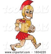 Vector Illustration of a Cartoon Spartan Warrior Mascot Running with a Football by Toons4Biz