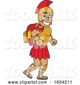 Vector Illustration of a Cartoon Spartan Warrior Mascot Wearing a Backpack by Toons4Biz