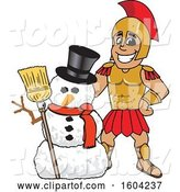 Vector Illustration of a Cartoon Spartan Warrior Mascot with a Christmas Snowman by Toons4Biz