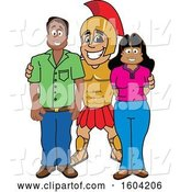 Vector Illustration of a Cartoon Spartan Warrior Mascot with Parents by Toons4Biz