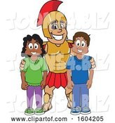 Vector Illustration of a Cartoon Spartan Warrior Mascot with Students by Toons4Biz