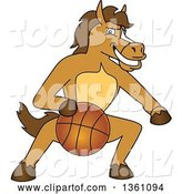 Vector Illustration of a Cartoon Stallion School Mascot Dribbling a Basketball by Toons4Biz