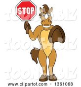Vector Illustration of a Cartoon Stallion School Mascot Gesturing and Holding a Stop Sign by Toons4Biz