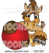 Vector Illustration of a Cartoon Stallion School Mascot Grabbing a Ball by Toons4Biz