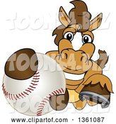 Vector Illustration of a Cartoon Stallion School Mascot Grabbing a Baseball by Toons4Biz