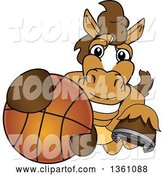 Vector Illustration of a Cartoon Stallion School Mascot Grabbing a Basketball by Toons4Biz