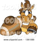 Vector Illustration of a Cartoon Stallion School Mascot Grabbing a Football by Toons4Biz
