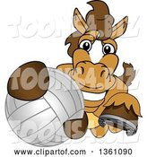 Vector Illustration of a Cartoon Stallion School Mascot Grabbing a Volleyball by Toons4Biz