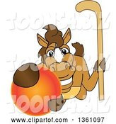 Vector Illustration of a Cartoon Stallion School Mascot Holding a Stick and Grabbing a Field Hockey Ball by Toons4Biz