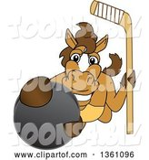 Vector Illustration of a Cartoon Stallion School Mascot Holding a Stick and Grabbing a Hockey Puck by Toons4Biz
