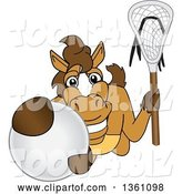 Vector Illustration of a Cartoon Stallion School Mascot Holding a Stick and Grabbing a Lacrosse Ball by Toons4Biz