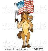 Vector Illustration of a Cartoon Stallion School Mascot Holding an American Flag by Toons4Biz