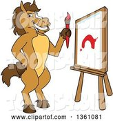 Vector Illustration of a Cartoon Stallion School Mascot Painting a Canvas by Toons4Biz