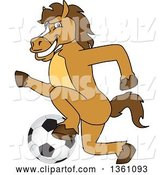 Vector Illustration of a Cartoon Stallion School Mascot Playing Soccer by Toons4Biz