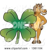 Vector Illustration of a Cartoon Stallion School Mascot Posing with a Giant Lucky Four Leaf St Patricks Day Clover by Toons4Biz