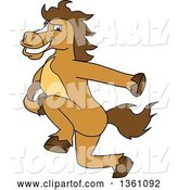 Vector Illustration of a Cartoon Stallion School Mascot Running with a Football by Toons4Biz