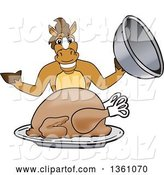 Vector Illustration of a Cartoon Stallion School Mascot Serving a Thanksgiving Turkey by Toons4Biz