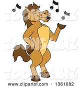 Vector Illustration of a Cartoon Stallion School Mascot Singing by Toons4Biz