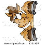 Vector Illustration of a Cartoon Stallion School Mascot Smiling Around a Sign by Toons4Biz