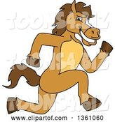 Vector Illustration of a Cartoon Stallion School Mascot Sprinting by Toons4Biz